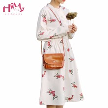 Japanese Fashion Womens Dress Vintage Print Floral Pleated Corduroy Mori Girl Long Dresses Autumn Plus Size Female Vestidos 2017(China)