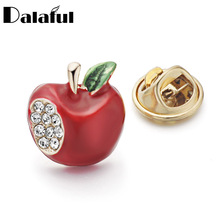 Dalaful Cute Women Shirt Collar Brooch Pins Red Crystal Decoration Brooches Garment Dress Accessories Jewelry Z031(China)