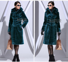 Long Women Real Lamb Fur Overcoat Hooded Soft & Thick Fashion Winter Outwear Big Collar Warm Solid Color Hoody AU00565