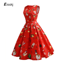 Santa Xmas Dress Women Christmas Snowman Festival Sleeveless A-Line Pleated Dress Swing Party Belted Midi Dresses For New Year(China)