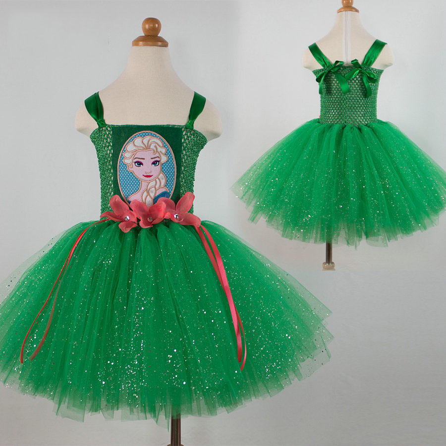 hot sale kids boutique clothing green tutu princess little girls dresses<br><br>Aliexpress