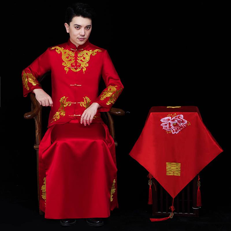 Traditional red Chinese Wedding clothing Vintage Groom Cheongsam male hanfu Embroidery Oriental stand collar tang suit sets