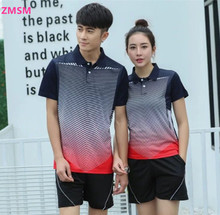 ZMSM 2017 Turn-down collar Couples mounted Men and women's Tennis Shirts shorts kit sports Badminton Table Tennis clothing Y103