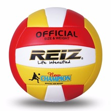 REIZ Soft PU Volleyball Official Size 5# Volleyball Professional Indoor & Outdoor Training Ball With Free Gift Net Needle(China)