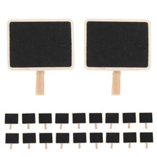 20pcs Mini Retangle Chalkboard Blackboard Clip Tag Crafts for Wedding Party Table Decoration