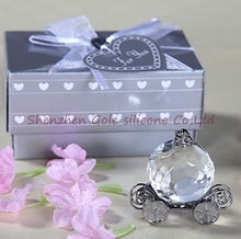 Freeshipping 100pcs/lot Crystal Pumpkin Coach Favors Crystal Carriage Baby shower baptism wedding favors party gifts(China)