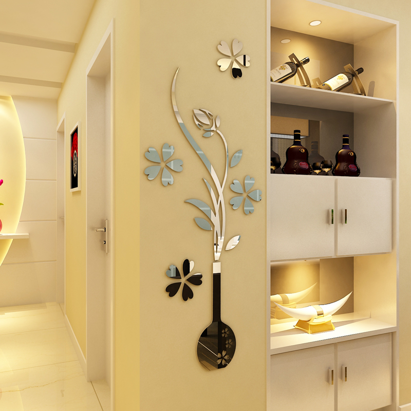 new mirror flower vase 3d crystal acrylic wall stickers entranceway mirror furniture - Cheap Mirrored Furniture