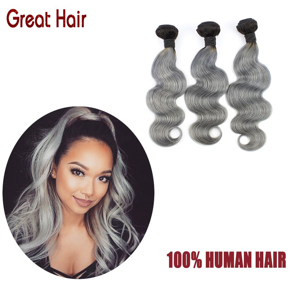 7A virgin brazilian hair 1B/Grey cheap brazilian human hair 3 bundles brazilian ombre silver grey hair weave free shipping<br><br>Aliexpress