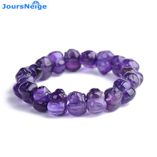 Wholesale Purple Natural Crystal Bracelets Meng Pig Beads Hand String Happy for Women Lovers Blessing Crystal Bracelet Jewelry(China)