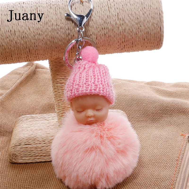 pompom key chain sleeping baby key chain cut rabbit fur ball keychain car key ring women keychian bag charm porte clef16