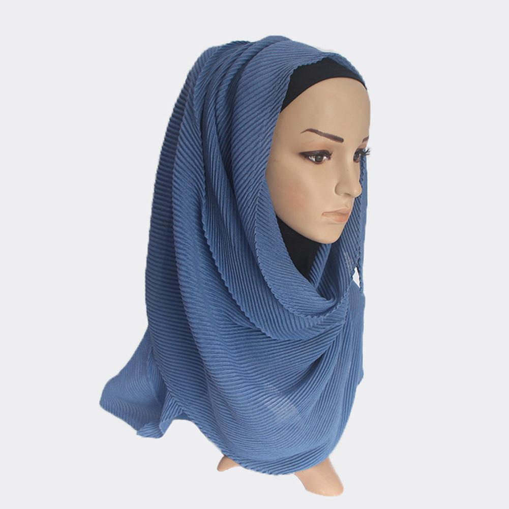 MISSKY Women Hijabs Solid Color Twill Creased Wrinkle Scarf Cotton and Linen Muslim Headscarf Lady Hood Turban 12