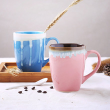 High-grade hand-painted coffee cups/ creative ceramic embossed coffee cup set/ Ice cream style tea cups with pink and blue color