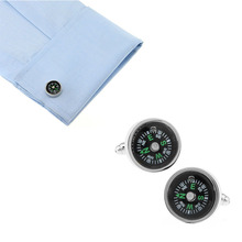 Compass Cufflinks Jewelry Shirt Cufflinks Cuff Buttons Laser Pattern Cuff Link For Men Gift @M23