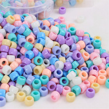 200pcs Candy color Large Hole Acrylic Beads for Children Kids Jewelry Making Necklace Bracelets Beads 6*9mm(China)