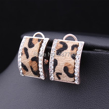 Wholesale New Jewelry Gold  Color Rhinestone Horse Hair  Leopard Print Stud Earrings For Winter High Quality E230