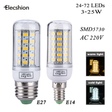 Elecshion E27 E14 LED bulb AC220V lamp Dimmable nightlight SMD5730 Corn Chandelier 3W 5W 7W 12W 15W 20W 25W led Candle spotlight