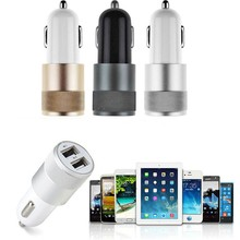 500PCS Best Metal Dual USB car charger Port Auto-Ladegerat Universal 12 Volt /1~2 Amp for Apple iPhone Samsung Motorola Free DHL