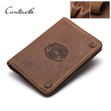 2017 Men Wallets CONTACT'S Brand Design Crazy Horse Cowhide Leather Male Clutch Wallets Coins Purse Photo Holder Card Holders(China)