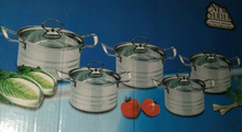 Silver 5 Cooking pans SET inox Cookware set Camping kitchenware Sooker Set Pots
