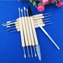 11pcs Multifunction Professional Wood Metal Handle Wax Pottery Clay Sculpture Carving Modeling Wire Texture Tool Fimo DIY Craft