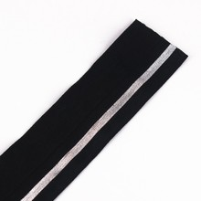 38mm Black Silver Elastic Stretch Ribbon Band Belt Webbing Tape Trim Applique Sewing Accessories cinta for Cloth 5yard/T1253