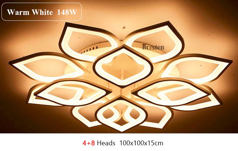 Horsten Remote Control Modern LED Ceiling Lights For Living Room Bedroom Acrylic Ceiling Lamps Flower Design Celing Lamp 90-260V (16)