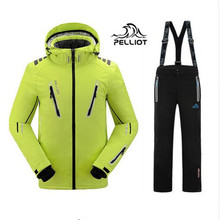 DHL FREE SHIPPING!2017 Pelliot male ski suits jacket+pants Men waterproof,breathable thermal cottom-padded super warm snowboard(China)