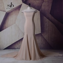 Formal Dresses 2017 Crystals Mermaid Long Dresses Evening Party Boat Neck Newest Coming Chiffon Gowns Evening Dresses