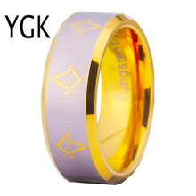 YGK Tungsten Ring YGK JEWELRY Hot Sales 8MM Gold Color Bevel Freemason Masonic Men's Comfort Tungsten Wedding Ring(China)