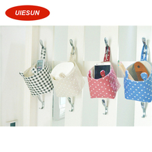 ZAKKA Style Plaid and Dot Home Organizer Storage Bags Linen Pastoral Wall Decorating Hanging Pocket Bag UIE692