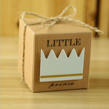 Little Prince Princess Brown Kraft Paper Gift Box Baby Shower Birthday Party Favors Candy Boxes with Crown and Twine 20pcs(China)