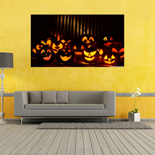 Halloween Poster Pumpkins,Black Cat, Witch's Broom Modern Cartoon Art Picture For Home Decoration Wall Silk Poster 20x35inch