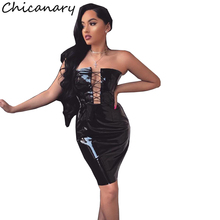 Chicanary Sexy Strapless Dress Bodycon Women Clothing Spring New Fashion PU Leather Lace Up Women Dress Club Wear Vestidos(China)