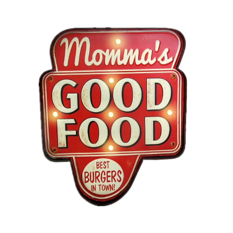 Retro Momma's Good Food LED Tin Signs Burgers Pizza Hamburger Metal Signboard Home Hotel Shop Wall Hanging Neon Signs YN095(China (Mainland))
