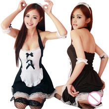Buy Sexy French Maid Costumes Porn Erotic LINGERIE Women Uniform Black Lace Cosplay Halloween Uniform Women Sexy Maid Lingerie Hot