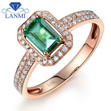 Fashion Jewelry Emerald Cut 4x6mm 18K Rose Gold Natural Emerald Ring Wedding Ring WU217