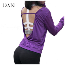 DANENJOY Women Yoga T Shirts Quick Dry Workout Blouses Sport Jerseys Open Back Yoga Top Shirts Long Sleeve Activewear Women B029
