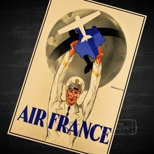 Pilot Air Force Uniform Travel Air France Airplane Vintage Retro Decorative Poster DIY Wall Sticker Bar Posters Home Decor Gift(China)