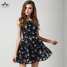 Leiouna New Fashion Spring Summer Swan Print Dress Women Sleeveless Knee-length A-line O-neck Casual Dresses White/black