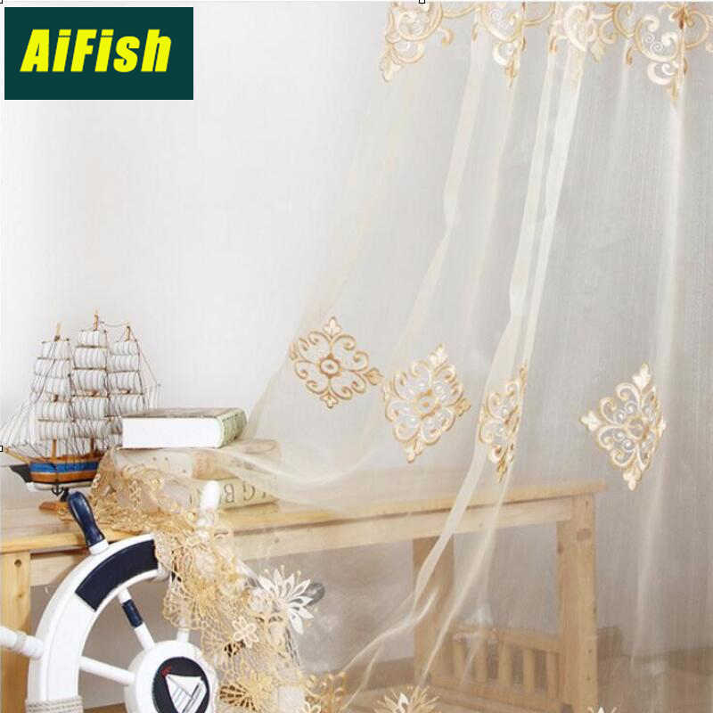 Embroidery curtains gold Single Curtain P Window Curtain Drapes for Sitting Room Golden Cortinas wp160#36