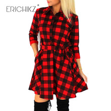 ERICHIKZ Autumn Plaid Dresses Explosions Leisure Vintage Dress Fall Women Check Print Spring Casual Shirt Dress Mini Vestidos