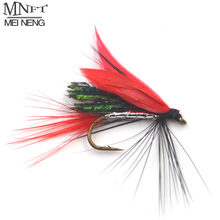 MNFT 10PCS 10# Red Feather Peacock Wing Crazy Fly Trout Lure Fly Fishing Artificial Insect Bait