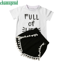 CHAMSGEND Best seller drop ship summer Toddler Baby Girls kids clothes Short Sleeve  infantis  Outfits Clothes Set S30