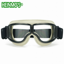 White Leather Harley Style Goggles Glasses Clear Lens WWII RAF Vintage Pilot Motorcycle Biker Cruiser Helmet