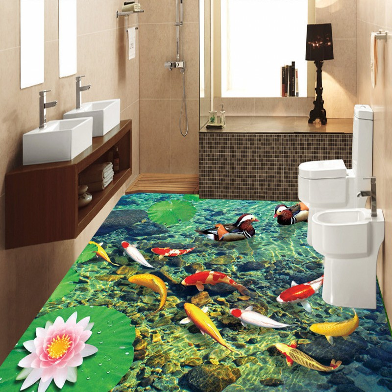 Free Shipping Continental living room 3D stereo undersea stone carp floor painting thickened study lobby bathroom flooring mural<br><br>Aliexpress