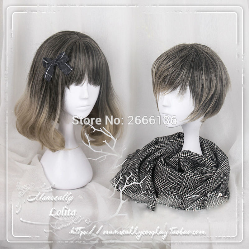 40cm Wig cosplay girl style short hair Linen gray gradient curls hair Brother and sister models lolita short wig Free shipping<br><br>Aliexpress