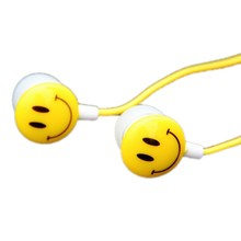 Hot Sale Portable Mini Earphones 3.5mm Jack In Ear Smile Face Cartoon Earphones For PC Phones Sports Running Colorful Earphone*