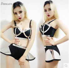 Sexy Women Atmospheric Leader Metal Wind Jazz Dancewear Sexy Ds Dj Performance suit Dress Shorts Of The Singer clothing Set(China)