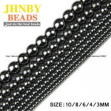 JHNBY Natural Stone Black Hematite beads Round Loose beads Stone ball Selectable 3/4/6/8/10MM For Jewelry bracelet Making DIY