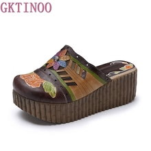 2017 Ethnic Style Genuine Leather Women's Summer Shoes Hollow Sandals wedges Slides Handmade Flower Women Platform Slipper(China)